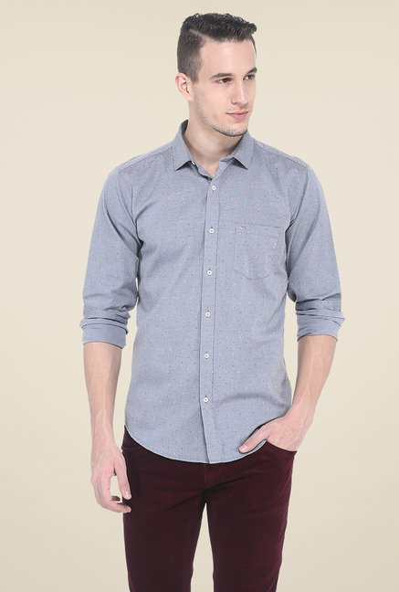 Basics Grey Printed Full Sleeve Shirt