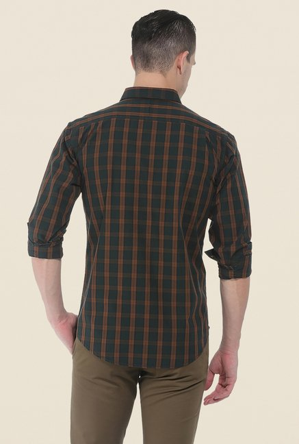 Basics Green Checks Slim Fit Cotton Shirt