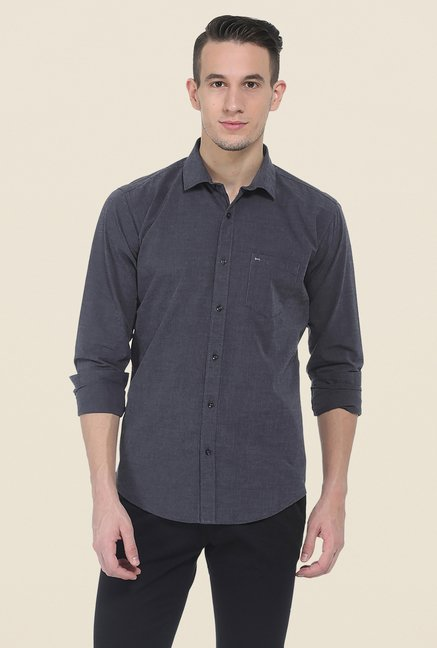 Basics Dark Grey Solid Shirt