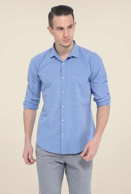 Basics Blue Solid Shirt
