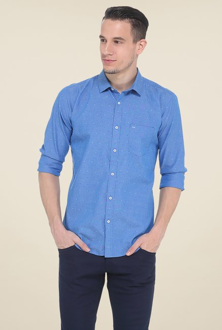 Basics Blue Printed Slim Fit Cotton Shirt
