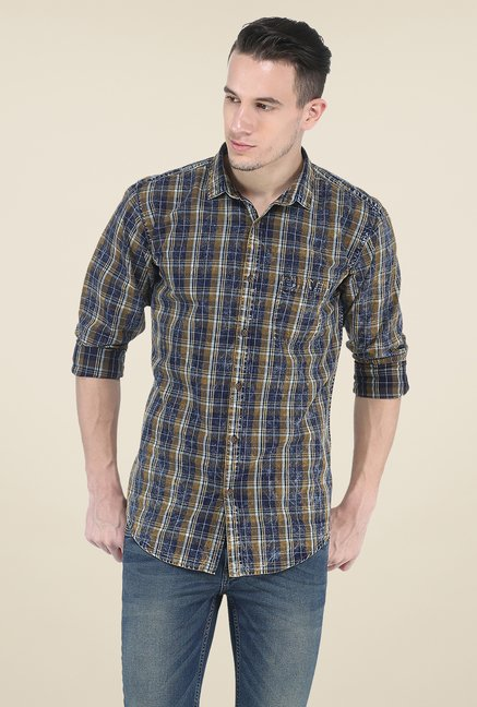 Basics Brown Slim Fit Shirt