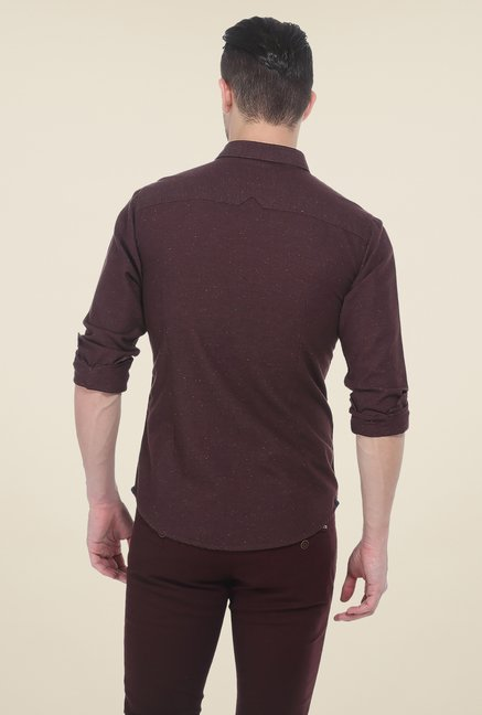 Basics Brown Textured Shirt