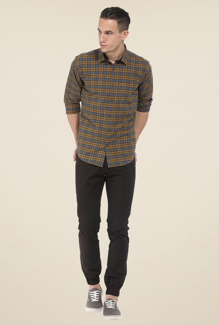 Basics Brown Checks Full Sleeve Slim Fit Cotton Shirt