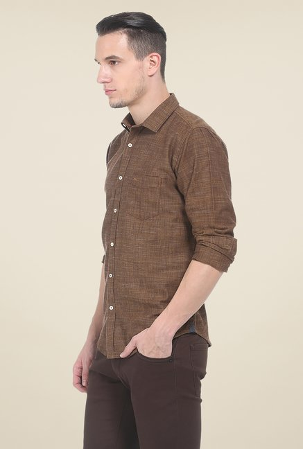 Basics Brown Self Print Shirt