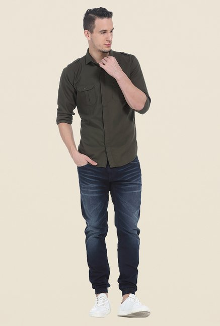 Basics Olive Solid Shirt