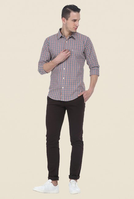 Basics Red Slim Fit Cotton Shirt