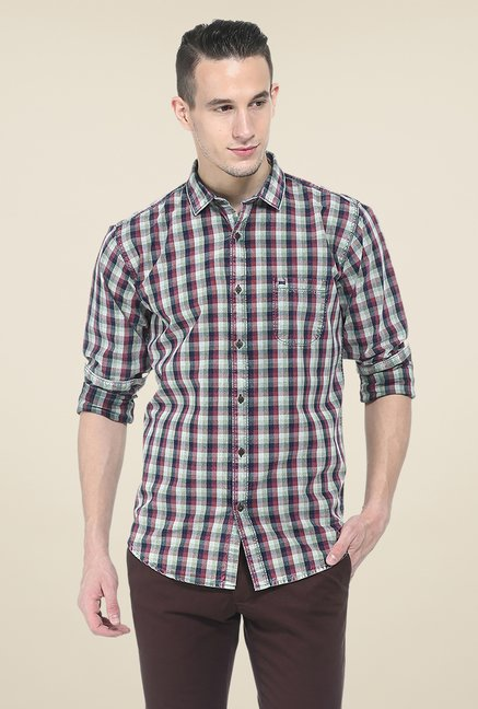 Basics Red Checks Slim Fit Shirt