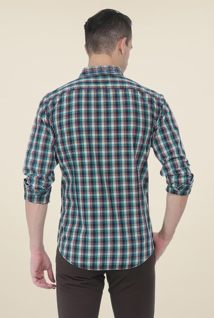 Basics Green Checks Slim Fit Shirt