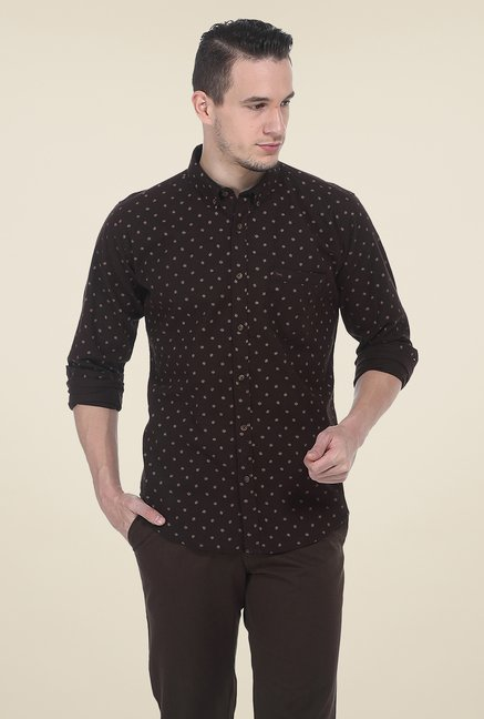 Basics Brown Printed Shirt