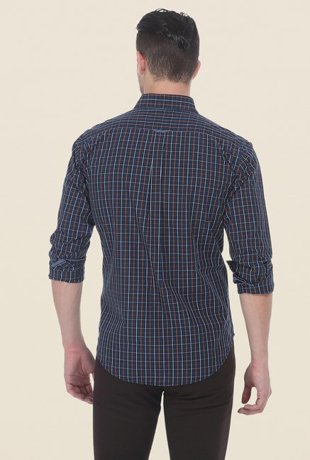 Basics Navy Checks Slim Fit Full Sleeve Cotton Shirt