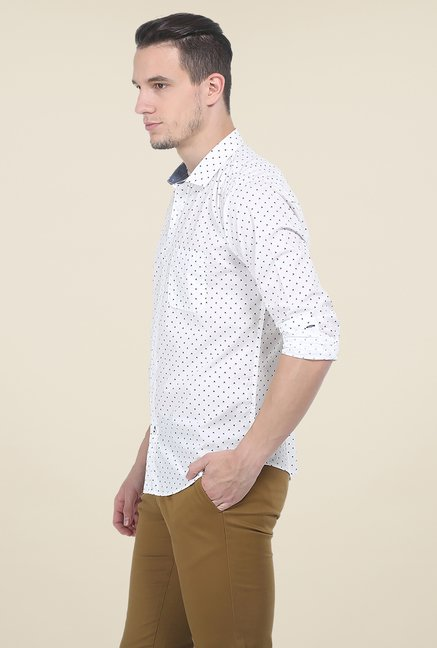Basics White Printed Slim Fit Cotton Shirt