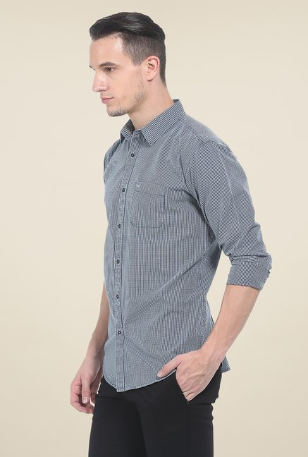 Basics Blue Checks Cotton Slim Fit Shirt