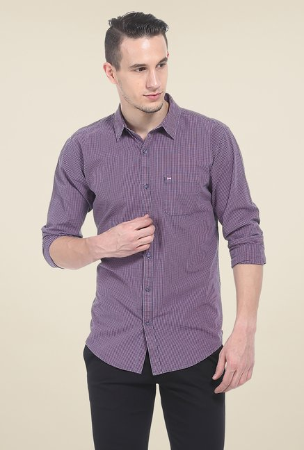 Basics Purple Checks Slim Fit Shirt