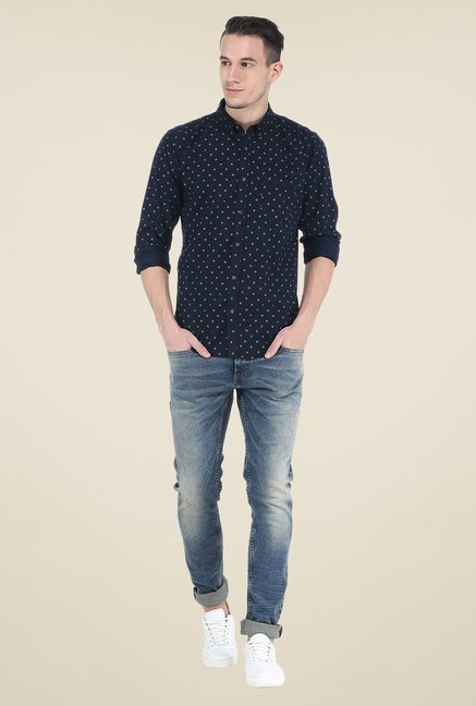 Basics Navy Printed Slim Fit Shirt