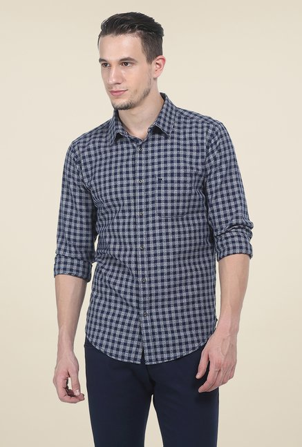 Basics Navy Checks Slim Fit Shirt