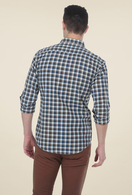 Basics Brown Checks Slim Fit Cotton Shirt