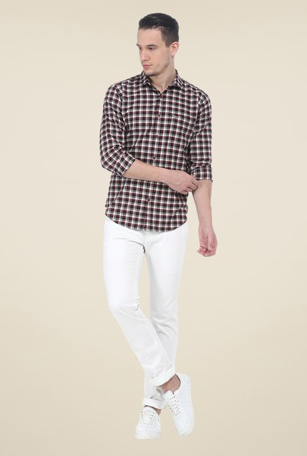 Basics Red Checks Slim Fit Cotton Shirt