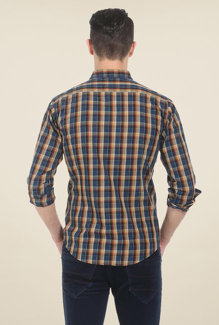 Basics Navy Checks Cotton Shirt