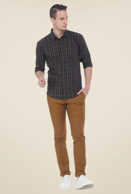 Basics Brown Slim Fit Cotton Shirt