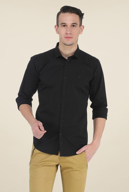Basics Black Solid Full Sleeve Shirt