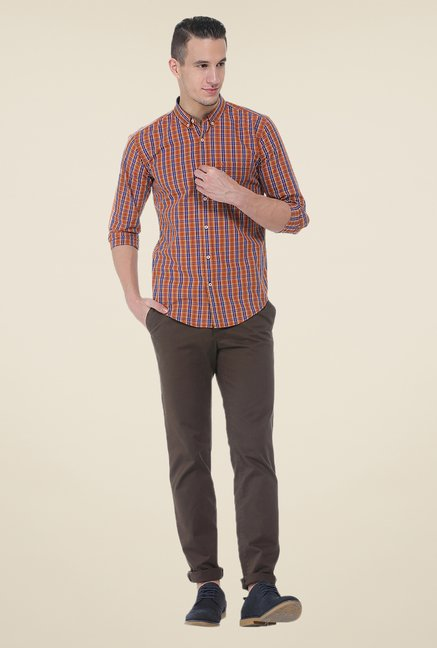 Basics Orange Checks Slim Fit Shirt