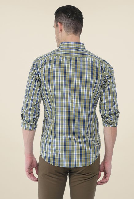 Basics Olive Checks Full Sleeve Shirt