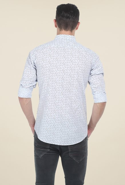 Basics Aqua Printed Slim Fit Shirt