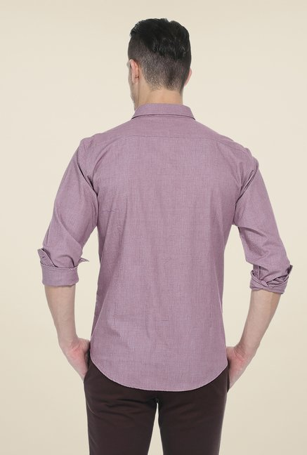 Basics Purple Textured Full Sleeve Shirt