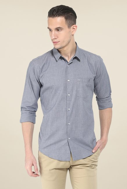 Basics Grey Textured Full Sleeve Shirt