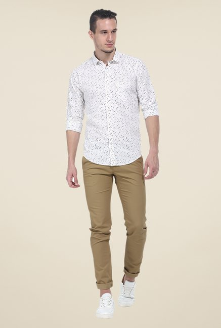 Basics White Printed Full Sleeve Shirt