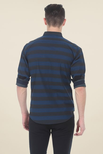 Basics Navy Striped Slim Fit Shirt
