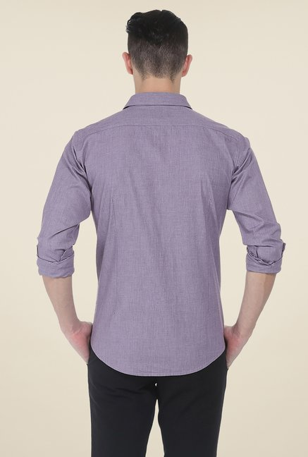 Basics Purple Textured Slim Fit Shirt