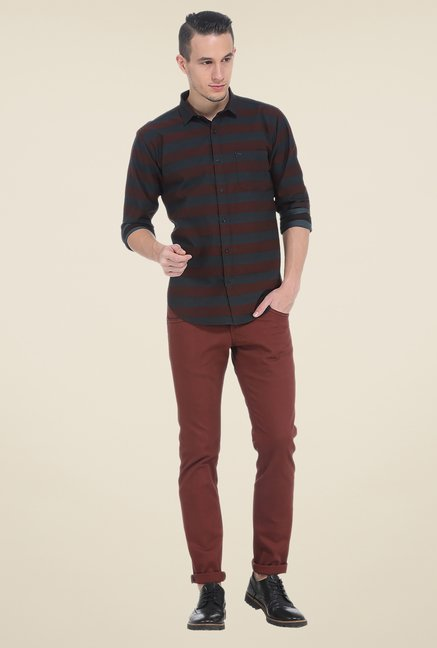 Basics Red Striped Slim Fit Shirt
