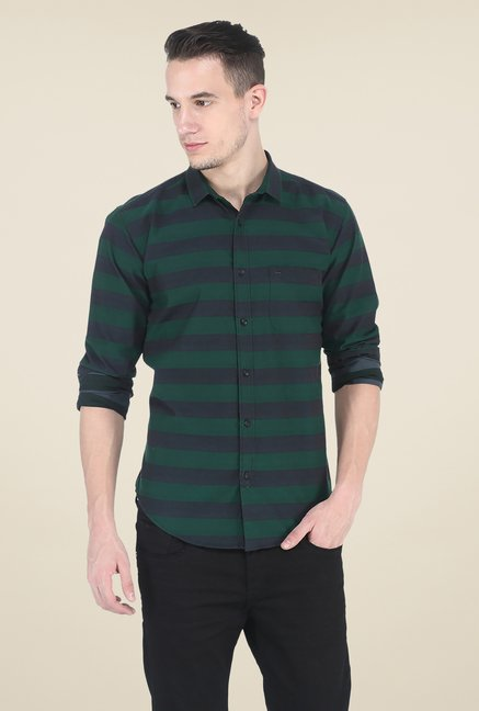 Basics Green Striped Slim Fit Shirt