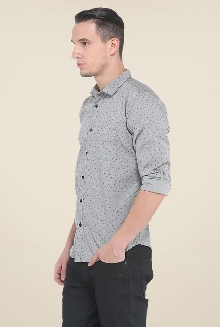 Basics Grey Printed Slim Fit Shirt