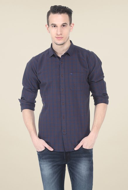 Basics Navy Checks Slim Fit Cotton Shirt