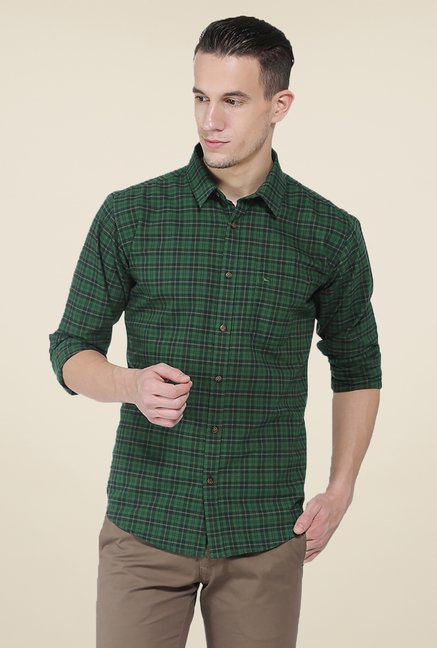 Basics Green Checks Slim Fit Full Sleeve Shirt