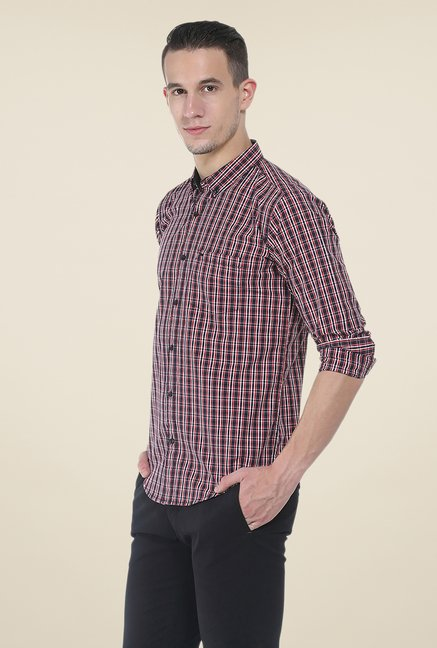 Basics Red & Black Checks Shirt