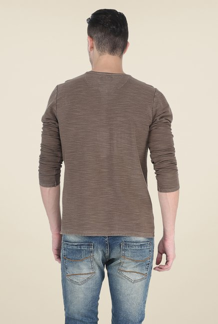 Basics Brown Textured T Shirt