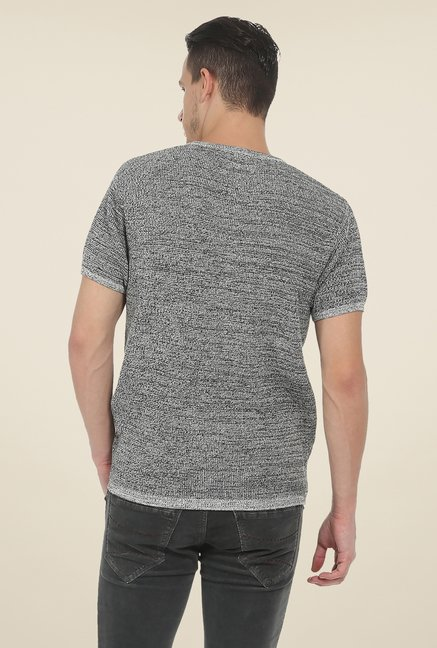 Basics Grey Textured T Shirt