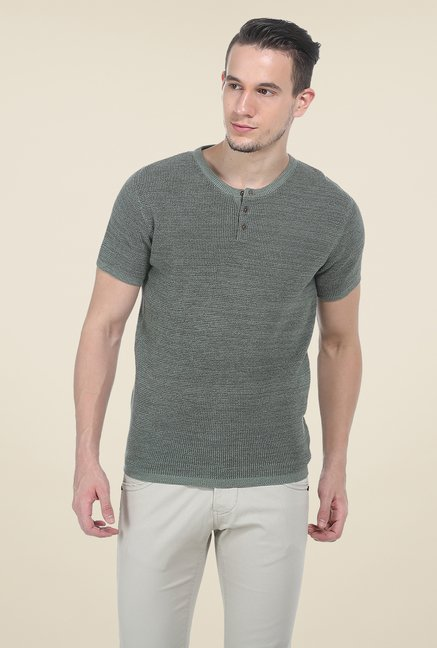 Basics Olive Textured T Shirt