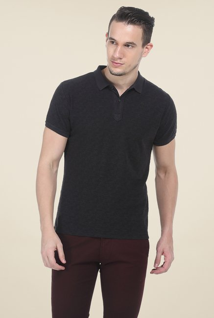 Basics Dark Grey Polo Printed T Shirt