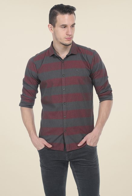 Basics Maroon & Grey Striped Shirt