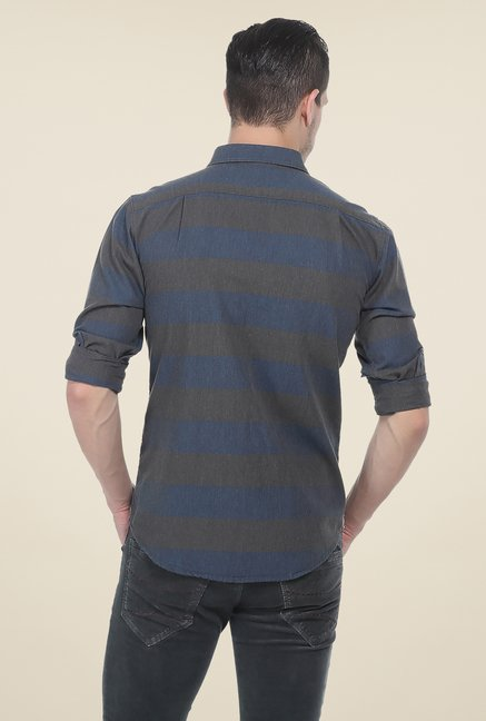 Basics Navy & Grey Striped Shirt