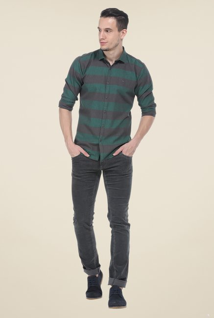 Basics Green & Grey Striped Shirt