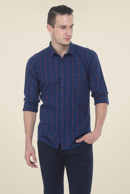 Basics Dark Blue Checks Shirt