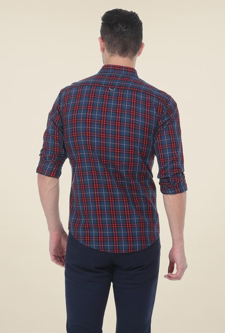 Basics Red & Navy Checks Slim Fit Cotton Shirt