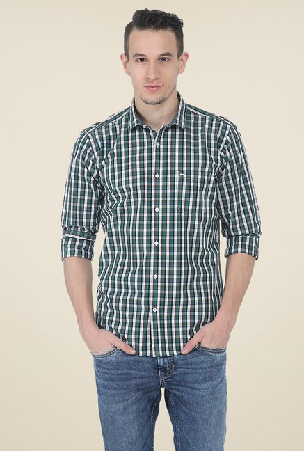 Basics Green Slim Fit Cotton Shirt