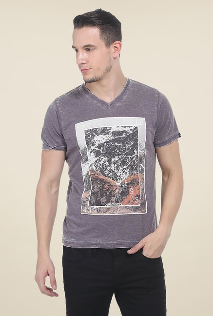 Basics Grey Printed T Shirt